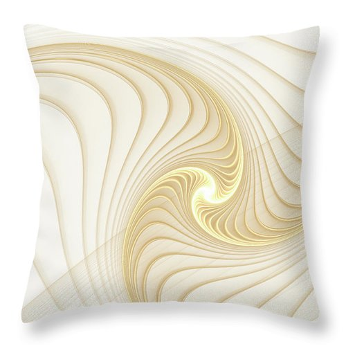 Golden And White Spiral Abstract - Throw Pillow