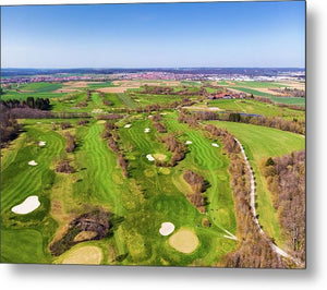 Green Golf Course Aerial View - Metal Print