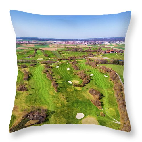 Green Golf Course Aerial View - Throw Pillow
