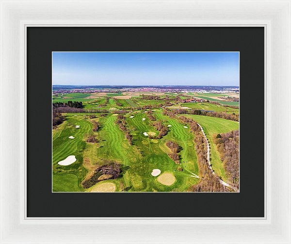 Green Golf Course Aerial View - Framed Print