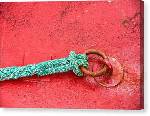 Green Marine Rope On Red Ship - Canvas Print