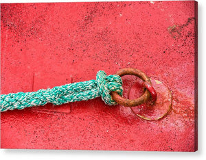 Green Marine Rope On Red Ship - Acrylic Print