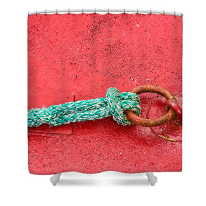 Green Marine Rope On Red Ship - Shower Curtain