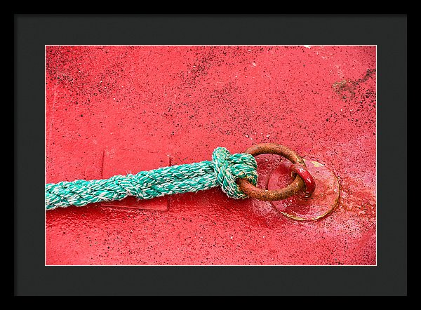 Green Marine Rope On Red Ship - Framed Print