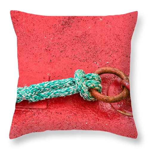 Green Marine Rope On Red Ship - Throw Pillow