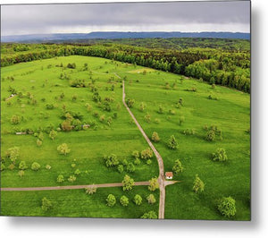 Green Meadow With Trees In Germany Aerial - Metal Print