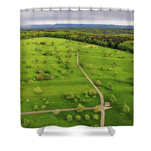 Green Meadow With Trees In Germany Aerial - Shower Curtain