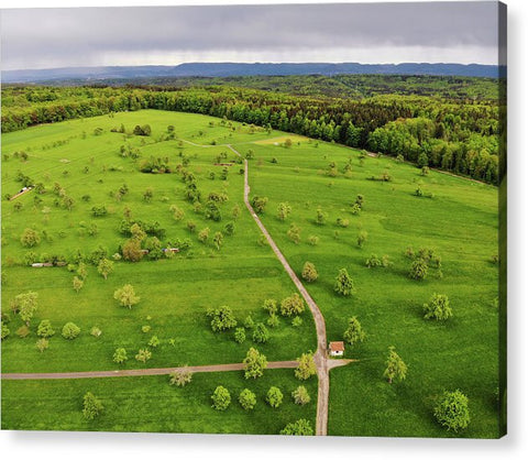 Green Meadow With Trees In Germany Aerial - Acrylic Print