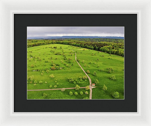Green Meadow With Trees In Germany Aerial - Framed Print