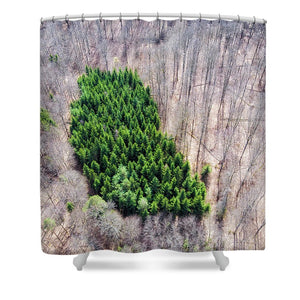 Green Tree Island In March Forest From Above - Shower Curtain