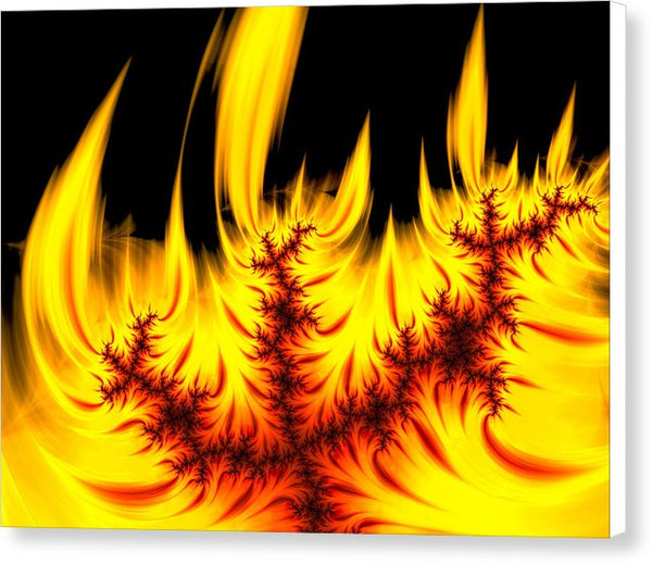 Hot Orange And Yellow Fractal Fire - Canvas Print