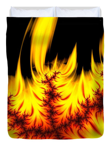 Hot Orange And Yellow Fractal Fire - Duvet Cover
