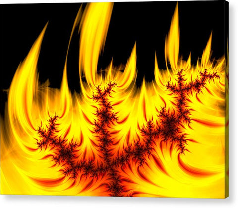 Hot Orange And Yellow Fractal Fire - Acrylic Print