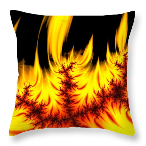 Hot Orange And Yellow Fractal Fire - Throw Pillow