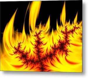 Hot Orange And Yellow Fractal Fire - Metal Print