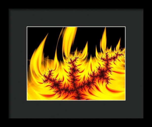 Hot Orange And Yellow Fractal Fire - Framed Print