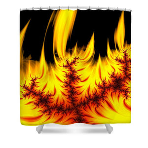 Hot Orange And Yellow Fractal Fire - Shower Curtain