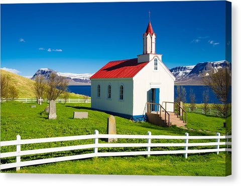 Hrafnseyri Church In Iceland - Canvas Print