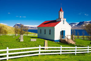 Hrafnseyri Church In Iceland - Art Print