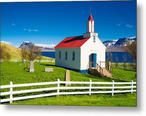Hrafnseyri Church In Iceland - Metal Print