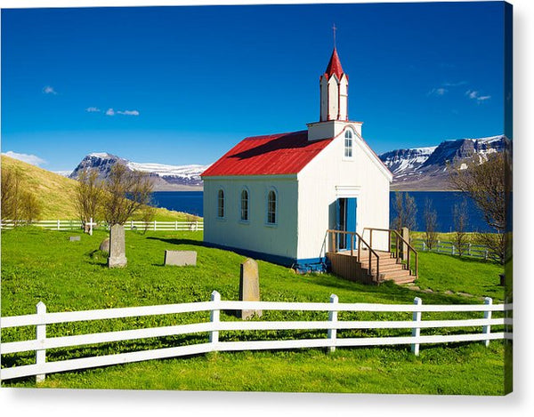 Hrafnseyri Church In Iceland - Acrylic Print