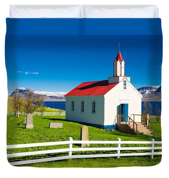 Hrafnseyri Church In Iceland - Duvet Cover