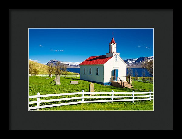 Hrafnseyri Church In Iceland - Framed Print