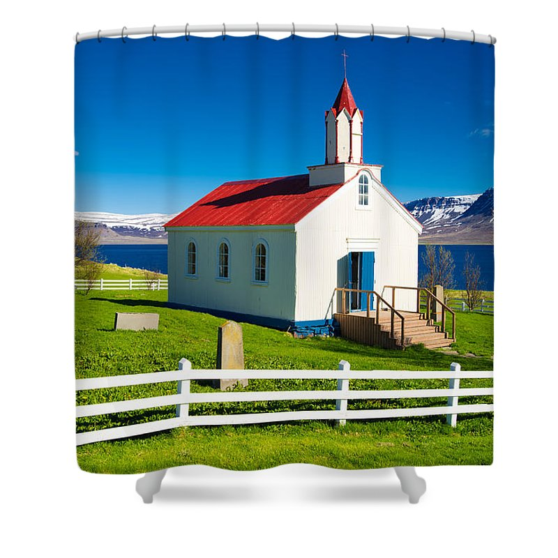 Hrafnseyri Church In Iceland - Shower Curtain