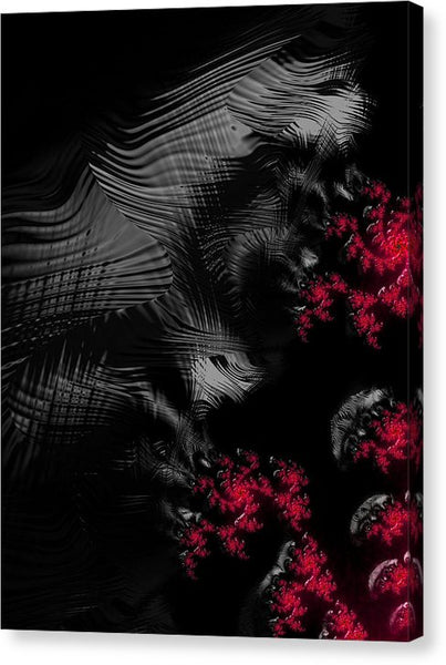Hunger - Dark And Blood Red Fractal Art - Canvas Print