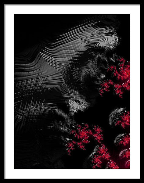 Hunger - Dark And Blood Red Fractal Art - Framed Print