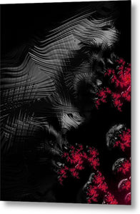 Hunger - Dark And Blood Red Fractal Art - Metal Print