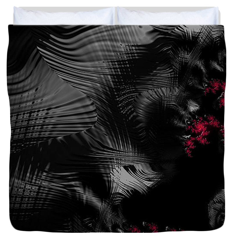 Hunger - Dark And Blood Red Fractal Art - Duvet Cover