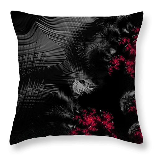Hunger - Dark And Blood Red Fractal Art - Throw Pillow