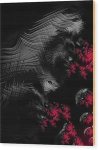 Hunger - Dark And Blood Red Fractal Art - Wood Print