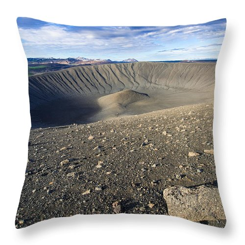 Hverfell Crater Landscape North Iceland - Throw Pillow