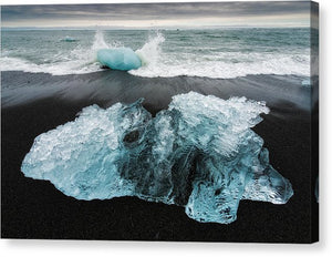 Iceberg And Black Beach In Iceland - Canvas Print