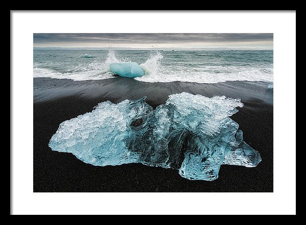 Iceberg And Black Beach In Iceland - Framed Print