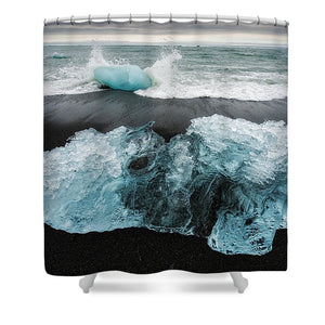 Iceberg And Black Beach In Iceland - Shower Curtain