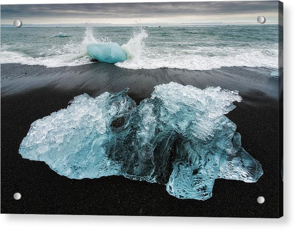 Iceberg And Black Beach In Iceland - Acrylic Print