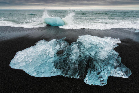 Iceberg And Black Beach In Iceland - Art Print