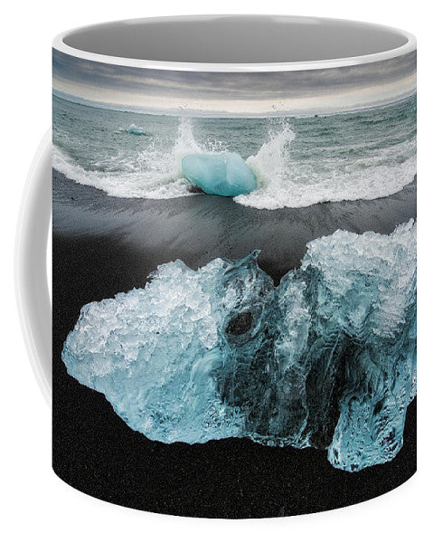 Iceberg And Black Beach In Iceland - Mug