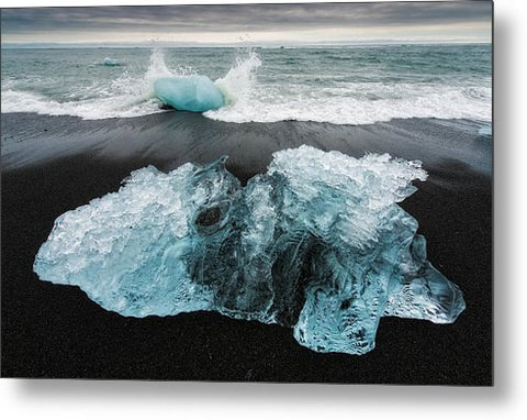 Iceberg And Black Beach In Iceland - Metal Print