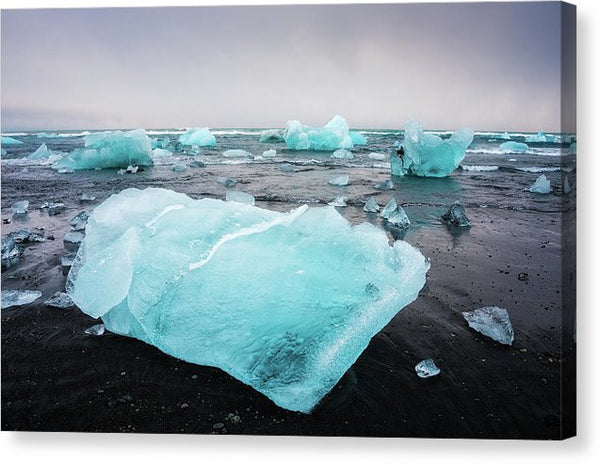 Iceberg Pieces In Iceland Jokulsarlon - Canvas Print