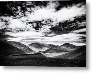 Iceland Black And White Mountain Landscape - Metal Print
