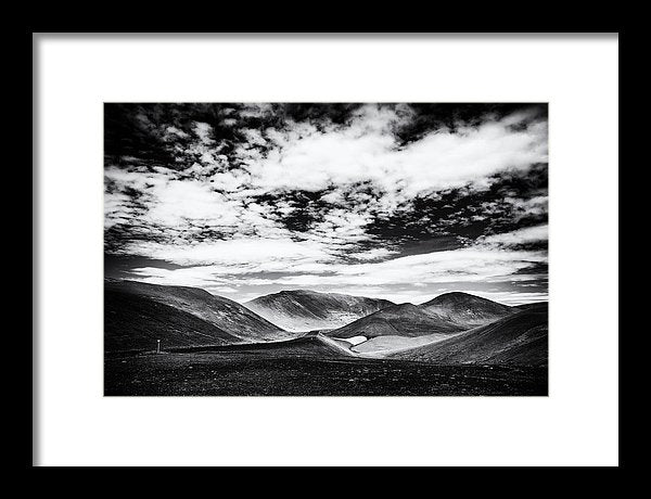 Iceland Black And White Mountain Landscape - Framed Print