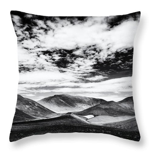 Iceland Black And White Mountain Landscape - Throw Pillow