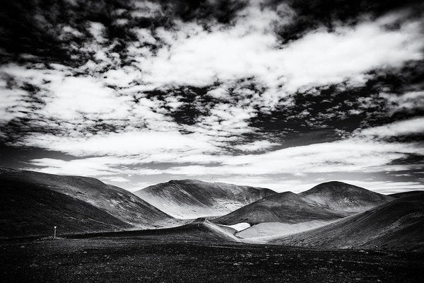 Iceland Black And White Mountain Landscape - Art Print