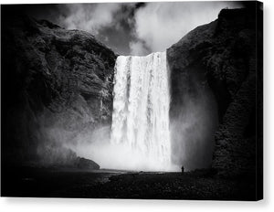 Iceland Black And White Skogafoss Waterfall - Canvas Print