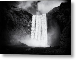 Iceland Black And White Skogafoss Waterfall - Metal Print