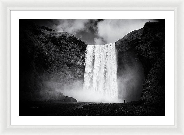 Iceland Black And White Skogafoss Waterfall - Framed Print